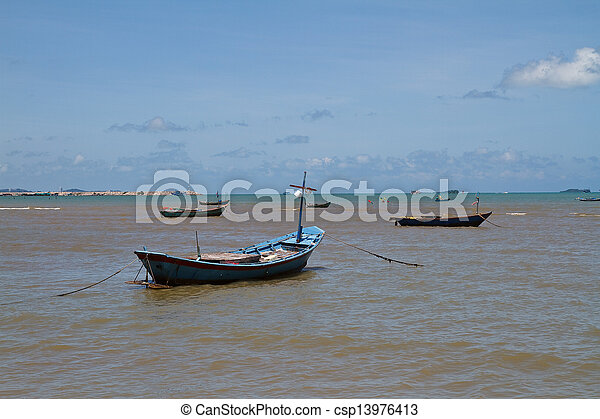 Boat on the beach. - csp13976413