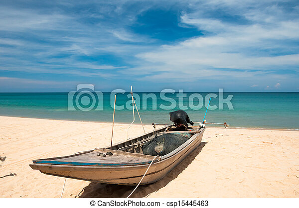 Boat on the beach - csp15445463