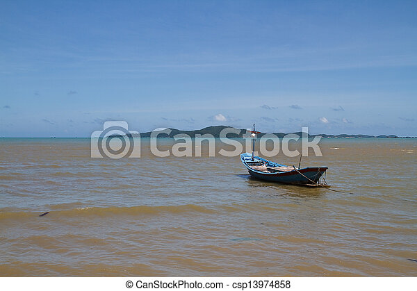 Boat on the beach. - csp13974858