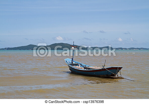 Boat on the beach. - csp13976398
