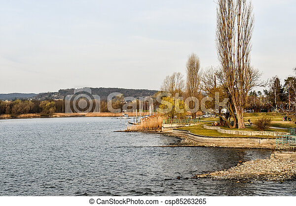 boat on the lake, photo as a background - csp85263265