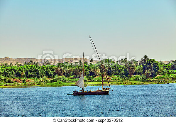 boat on the Nile River. Egypt - csp48270512