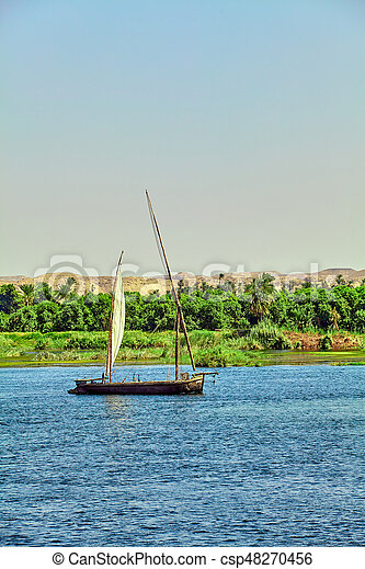 boat on the Nile River. Egypt - csp48270456
