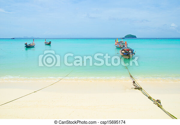 Boat on the sea in thailand - csp15695174
