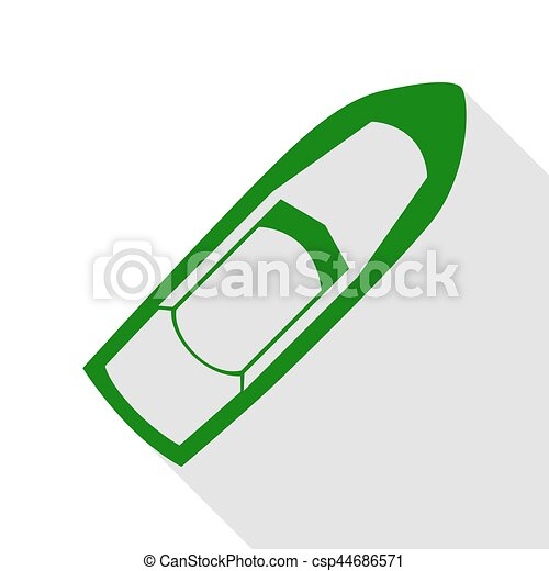 Boat sign. Green icon with flat style shadow path. - csp44686571
