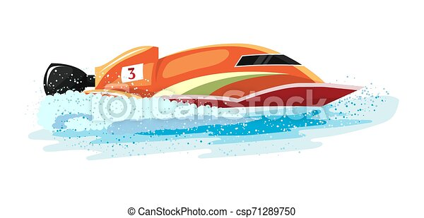 Boat vector speed motorboat yacht traveling in ocean illustration nautical set of summer vacation on motorized boat speedboat vessel transportation by sea waves isolated on white background - csp71289750