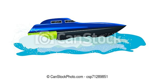 Boat vector speed motorboat yacht traveling in ocean illustration nautical set of summer vacation on motorized boat speedboat vessel transportation by sea waves isolated on white background - csp71289851
