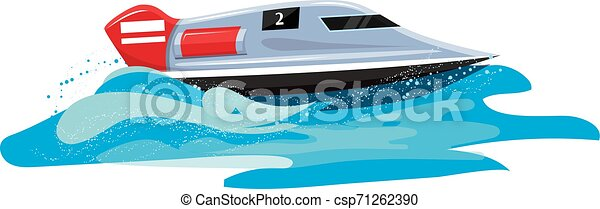 Boat vector speed motorboat yacht traveling in ocean illustration nautical set of summer vacation on motorized boat speedboat vessel transportation by sea waves isolated on white background - csp71262390