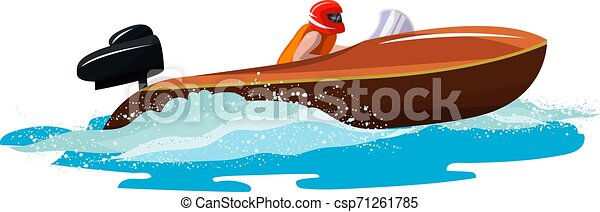 Boat vector speed motorboat yacht traveling in ocean illustration nautical set of summer vacation on motorized boat speedboat vessel transportation by sea waves isolated on white background - csp71261785