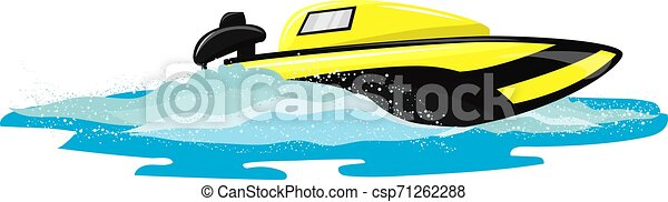 Boat vector speed motorboat yacht traveling in ocean illustration nautical set of summer vacation on motorized boat speedboat vessel transportation by sea waves isolated on white background - csp71262288