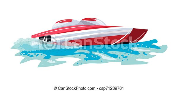 Boat vector speed motorboat yacht traveling in ocean illustration nautical set of summer vacation on motorized boat speedboat vessel transportation by sea waves isolated on white background - csp71289781