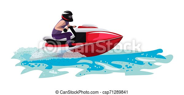 Boat vector speed motorboat yacht traveling in ocean illustration nautical set of summer vacation on motorized boat speedboat vessel transportation by sea waves isolated on white background - csp71289841