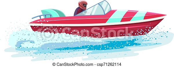 Boat vector speed motorboat yacht traveling in ocean illustration nautical set of summer vacation on motorized boat speedboat vessel transportation by sea waves isolated on white background - csp71262114