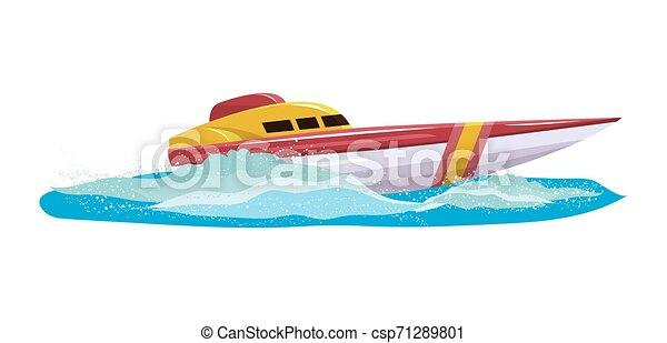Boat vector speed motorboat yacht traveling in ocean illustration nautical set of summer vacation on motorized boat speedboat vessel transportation by sea waves isolated on white background - csp71289801
