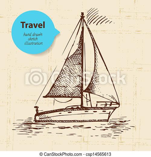 boat., vendange, voyage, illustration, main, fond, dessiné - csp14565613
