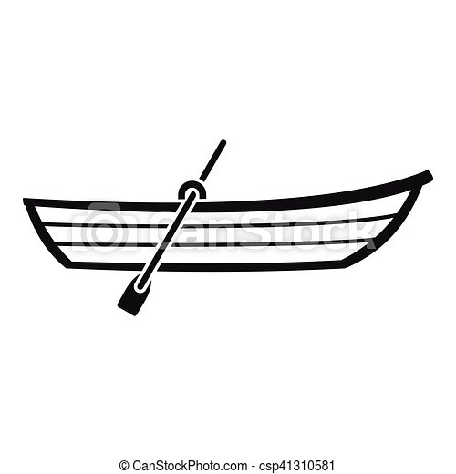 Boat With Paddle Icon Simple Style