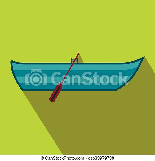 Boat with paddles flat icon - csp33979738