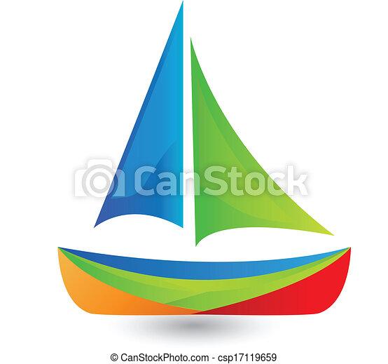 Boat with vivid colors logo  - csp17119659