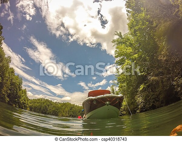 boating on a lake in the mountains - csp40318743