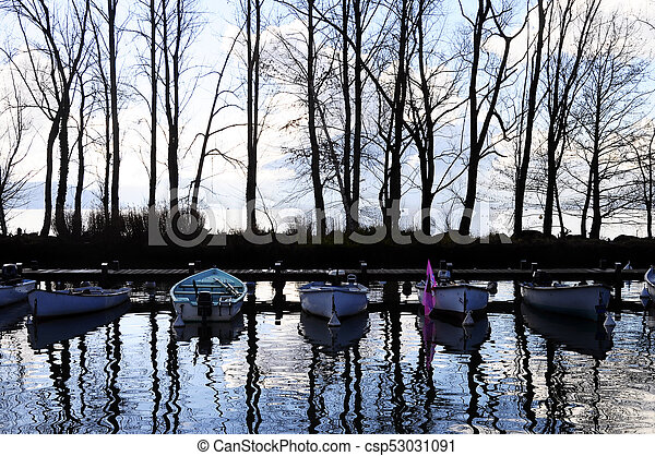 Boats and marina on Annecy lake, France - csp53031091