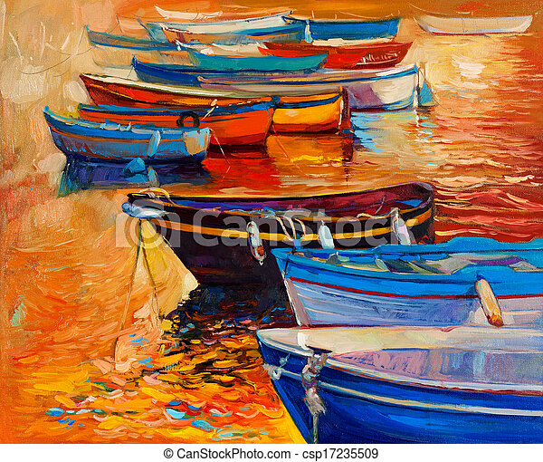 Boats and ocean - csp17235509