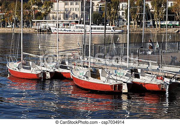 Boats at Lake Como Lecco Italy - csp7034914