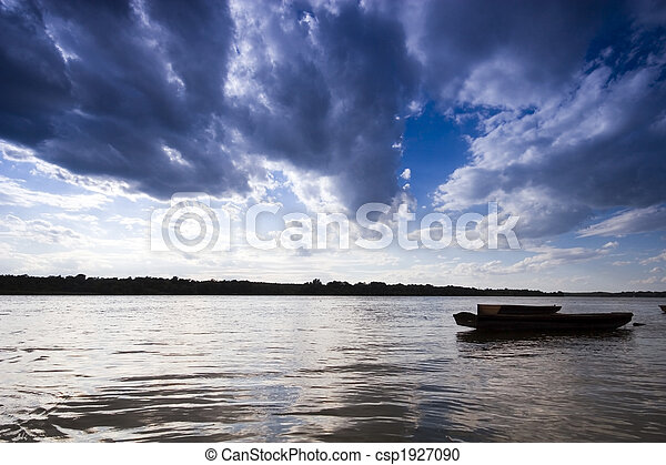 Boats at sunset on the Danube river - csp1927090