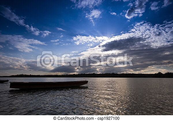 Boats at sunset on the Danube river - csp1927100