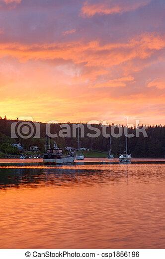 Boats at sunset - csp1856196