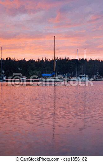 Boats at sunset - csp1856182