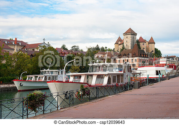 Boats at the pier in Annecy - csp12039643