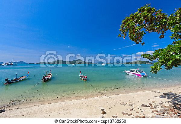 boats near shore - csp13768250