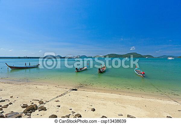 boats near shore - csp13438639