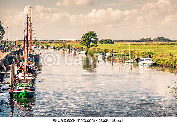 Boats on a river canal - csp30120651