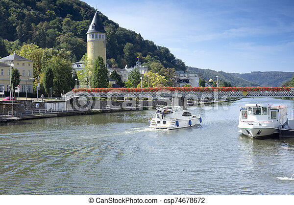 Boats on Lahn River - csp74678672