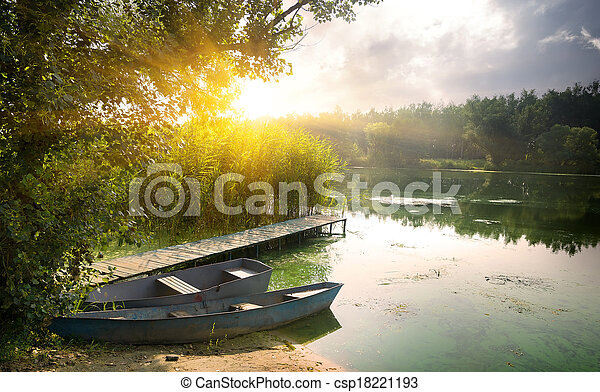 Boats on river - csp18221193