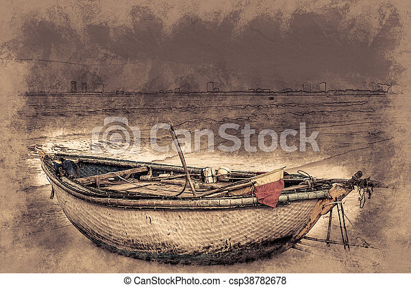 boats on the beach of Da Nang city, Vietnam - csp38782678