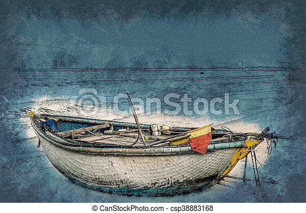 boats on the beach of Da Nang city, Vietnam - csp38883168