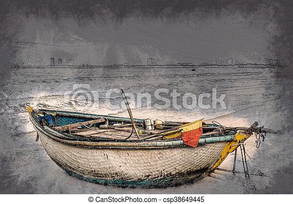 boats on the beach of Da Nang city, Vietnam - csp38649445