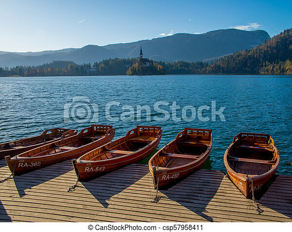 Boats on the lake of Bled - csp57958411