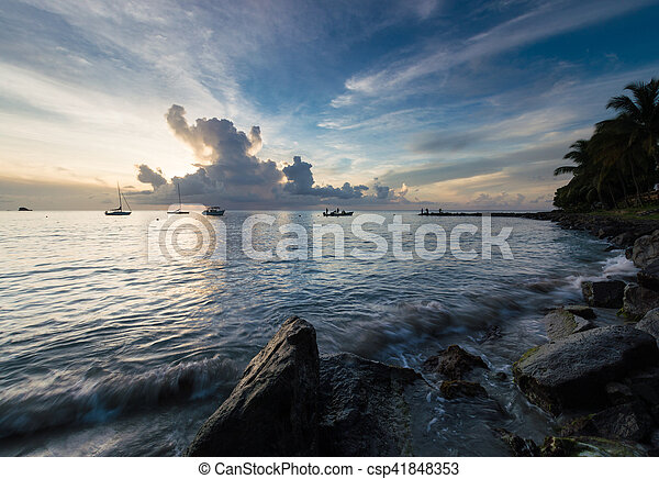 Boats on the Sea at Sunset - csp41848353