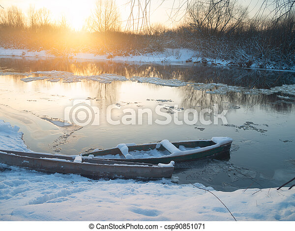 boats on the shore of the river - csp90851071