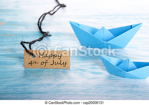 Boats with Happy 4th of July - csp20006131