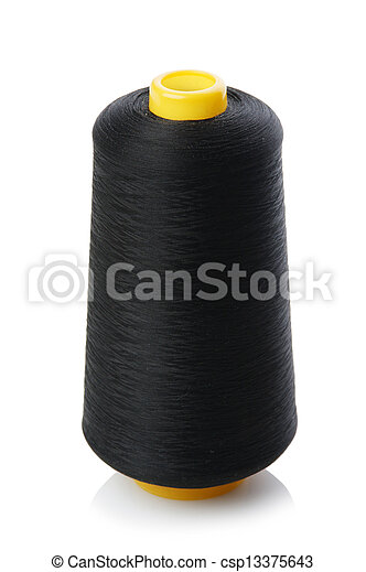 bobbin with black thread isolated on a white background - csp13375643