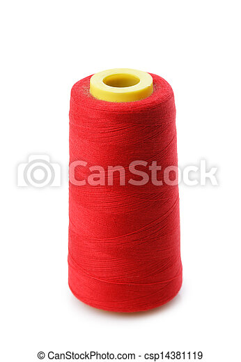 bobbin with red thread isolated on a white background - csp14381119