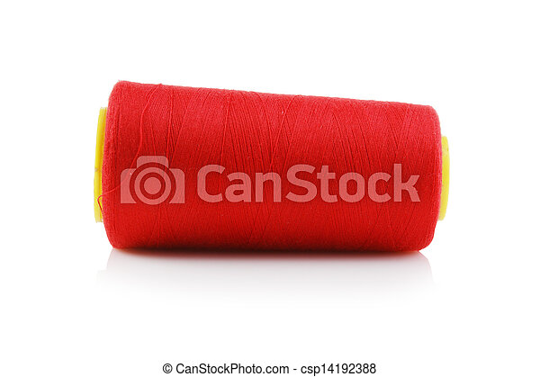 bobbin with red thread isolated on a white background - csp14192388