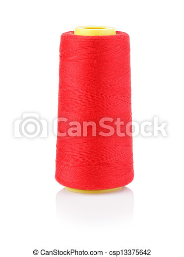 bobbin with red thread isolated on a white background - csp13375642