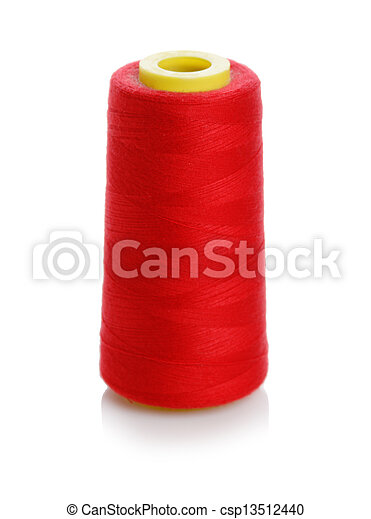 bobbin with red thread isolated on a white background - csp13512440