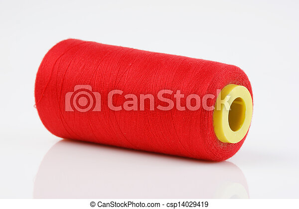 bobbin with red thread on a white background - csp14029419