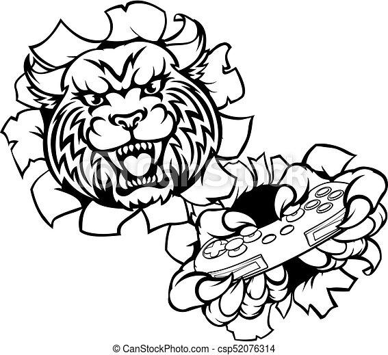 bobcat wildcat esports gamer mascot a wildcat or bobcat vector rh canstockphoto com wildcat clipart free wildcat clipart vector